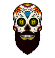 hand drawn mexican bearded sugar skull isolated vector image vector image