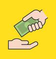hand giving dollar bank money vector image vector image
