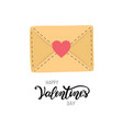 happy valentine s day greeting letter envelope vector image