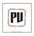 initial pv letter logo template design vector image vector image