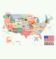 map of the united states of america with famous vector image