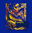 marbled blue and yellow abstract background vector image vector image