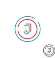 Modern letter J logo monogram outline emblem vector image vector image