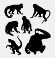 Monkey orangutan chimpanzee silhouette vector image vector image