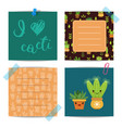 notes set with lettering and cacti elements vector image vector image