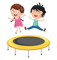 of kids playing trampoline vector image vector image