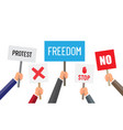 people protest meeting hands set with banners vector image