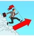 Pop Art Businessman with Flag Running to the Top vector image vector image