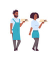 professional waiters couple holding coffee and vector image vector image