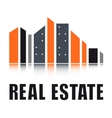 real estate symbol with city landscape vector image vector image