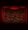 red curtains or velvet drapes vector image