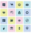 religion icons set with church rub el hizb menu vector image vector image