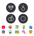Rings icons jewelry with diamond signs
