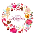 Round frame with Valentines Day icons vector image vector image