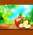 ruddy apple with apple slices lying on a wooden vector image vector image