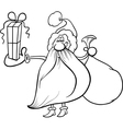 santa claus with gift coloring page vector image vector image