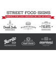 set street food fastfood signs with icons can vector image vector image