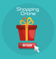 shopping online with gift box vector image vector image