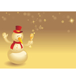 Snowman with wineglass on gold vector image