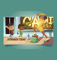 summer camp poster with people going to hike vector image
