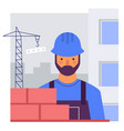 the builder builds a brick wall flat stylized vector image vector image