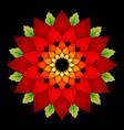 vibrant red colored round floral natural mandala vector image vector image