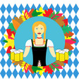 waitress wit beer mugs decorated with colorful vector image