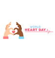 world heart day banner for love and health support vector image