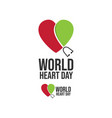 world heart day icon design stethoscope in heart vector image vector image