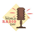 world radio day isolated icon retro microphone vector image