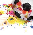 soccer ball ink splash design background vector image