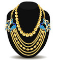 a gold feminine necklace with peacock beads vector image vector image
