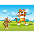 A Wild tiger and a monkey vector image vector image