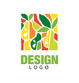 abstract logo design template with fruits in flat vector image vector image