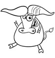african buffalo character cartoon coloring book vector image vector image