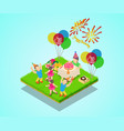 birthday party concept banner isometric style vector image vector image