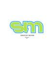 blue green alphabet letter sm s m logo icon design vector image vector image