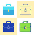 briefcase icon set in flat and line style vector image