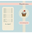 Cafe menu template with watercolor cupcake vector image