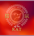 chinese new year rat 2020 red card gold mouse vector image vector image