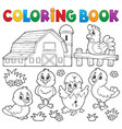 coloring book chickens and hen theme 2 vector image vector image