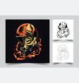 cool samurai japan artwork vector image vector image
