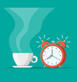 cup coffee and alarm clock vector image vector image
