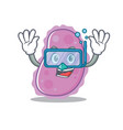 diving bacteria character cartoon style vector image
