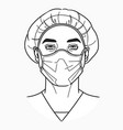 doctor wears a medical mask vector image