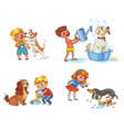 dog training funny cartoon character vector image vector image