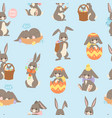 easter rabbit seamless pattern background with vector image