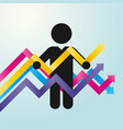 figure man holds chart of colored arrows vector image
