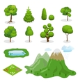 Flat 3d Isometric trees elements for vector image vector image