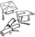 Graduation cap doodle vector image vector image